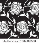 black and white flower pattern | Shutterstock .eps vector #1087482530