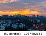 sunset over city   Shutterstock . vector #1087482866
