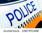 police sign on the side of a... | Shutterstock . vector #1087491488