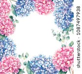 watercolor pink and blue... | Shutterstock . vector #1087497938