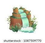 waterfall. cartoon landscapes... | Shutterstock .eps vector #1087509770