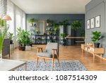 grey chair on a patterned rug...   Shutterstock . vector #1087514309