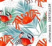crab watercolor seamless...   Shutterstock . vector #1087516139
