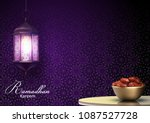 ramadan kareem greetings with... | Shutterstock .eps vector #1087527728