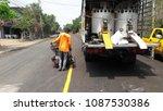 asphalt road is rebuilding. | Shutterstock . vector #1087530386