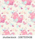 hand drawn hearts seamless... | Shutterstock .eps vector #1087535438