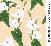 seamless calla lilies flower... | Shutterstock .eps vector #1087539806