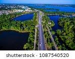 Aerial View Cars Drive Through...