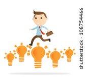 businessman jump bulb light on... | Shutterstock . vector #108754466