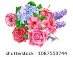 flowers on isolated white... | Shutterstock . vector #1087553744