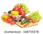 fresh vegetables and knife on... | Shutterstock . vector #108755378