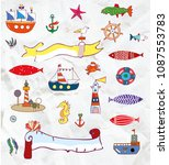 sea and nautical elemets set in ... | Shutterstock .eps vector #1087553783
