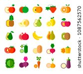 delicious ripe fruits and... | Shutterstock .eps vector #1087562570