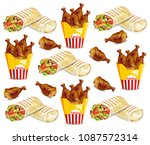 chicken wings and shawarma... | Shutterstock .eps vector #1087572314