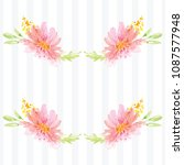 hand painted watercolor floral... | Shutterstock . vector #1087577948