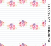 hand painted watercolor floral... | Shutterstock . vector #1087577954