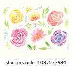 hand painted watercolor floral... | Shutterstock . vector #1087577984