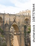 Small photo of Ronda, Andalusia / Spain: 05/02/2016: The Puente Nuevo spanning the 120-metre-deep chasm of the Guadalevin River and dividing the city.