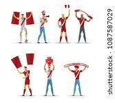 peru football fans. cheerful... | Shutterstock .eps vector #1087587029