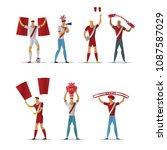 peru football fans. cheerful...   Shutterstock .eps vector #1087587029