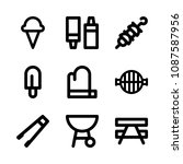 icons barbecue with mitten ... | Shutterstock .eps vector #1087587956