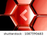 red glossy chevron left icon in ...