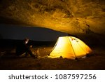 traveler with smartphone near...   Shutterstock . vector #1087597256