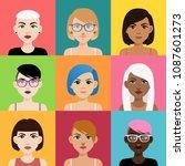 set of multicultural girl...   Shutterstock .eps vector #1087601273