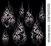 japanese style flame...   Shutterstock .eps vector #1087605320