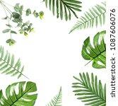 green plastic leaf on white... | Shutterstock . vector #1087606076