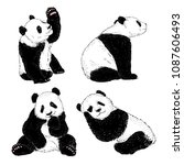 panda illustrations set | Shutterstock .eps vector #1087606493