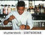 concentrated mixed race male... | Shutterstock . vector #1087608368