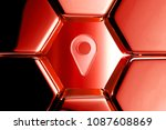 red glossy map marker icon in...