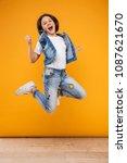 full length portrait of a happy ... | Shutterstock . vector #1087621670