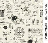 vector seamless pattern on the... | Shutterstock .eps vector #1087621739