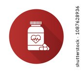 pills bottle with heart flat... | Shutterstock . vector #1087628936