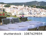 restaurant by the sea. calella... | Shutterstock . vector #1087629854