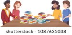 cartoon teenagers around table... | Shutterstock .eps vector #1087635038