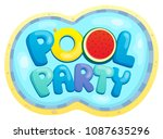 pool party sign theme 2   eps10 ... | Shutterstock .eps vector #1087635296