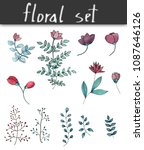 watercolor floral set | Shutterstock . vector #1087646126