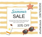 summer sale banner with... | Shutterstock .eps vector #1087650350