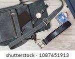 leather shoulder bag for men...   Shutterstock . vector #1087651913