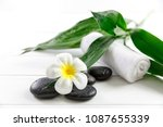spa concept with candle  stone  ...   Shutterstock . vector #1087655339