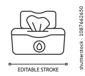 wet wipes pack linear icon.... | Shutterstock .eps vector #1087662650