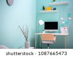 comfortable workplace with... | Shutterstock . vector #1087665473