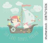 happy girl with her unicorn... | Shutterstock .eps vector #1087671026
