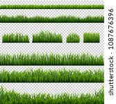 big set green grass borders... | Shutterstock .eps vector #1087676396