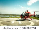 small helicopter parked at the... | Shutterstock . vector #1087682768