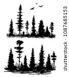 hand drawn forest silhouette.... | Shutterstock .eps vector #1087685153