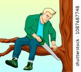 man sawing tree branch on which ... | Shutterstock .eps vector #1087687748